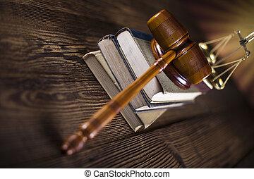juge, légal, échelle, code, maillet