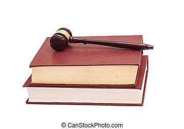 juge, légal, livres, fond, marteau, blanc