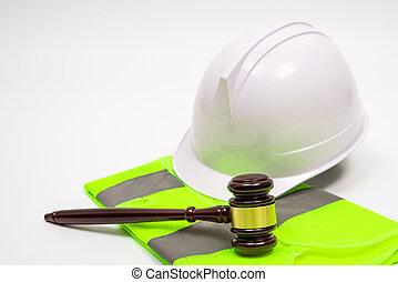 juge, légal, sécurité, concept, labor-related, chapeaux, travail, marteau, vêtements, blanc, arrière-plan.