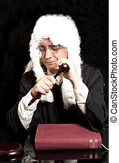 juge, livre, avocat, marteau, portrait, mâle