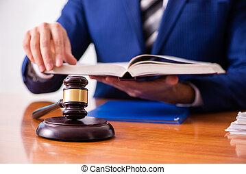 juge, mâle jeune, salle audience, séance