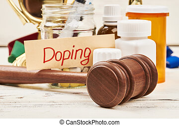 juge, médicaments, marteau, card.