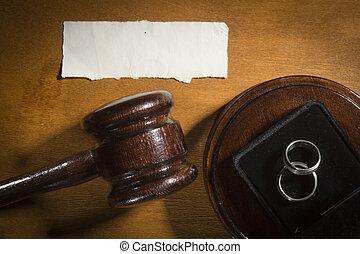 juge, marteau, anneaux, mariage