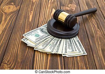 juge, marteau, argent