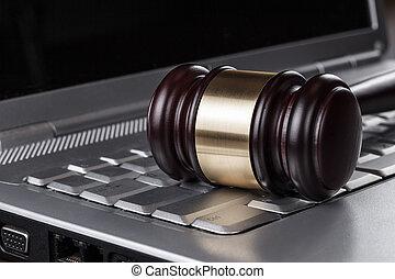 juge, marteau, concept, informatique