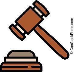 juge, marteau, contour, icône, tribunal, style
