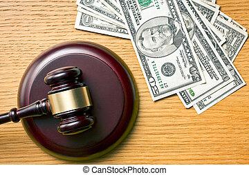 juge, marteau, dollars