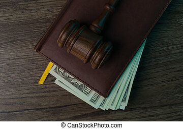 juge, marteau, dossier, à, billets banque