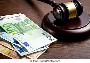 juge, marteau, factures, euro