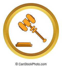 juge, marteau, icône