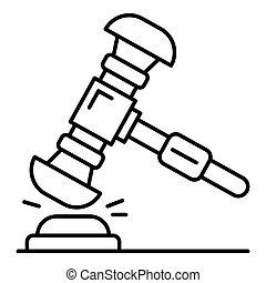 juge, marteau, icône, style, contour