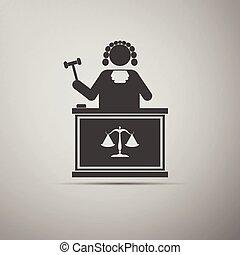 juge, marteau, icon.