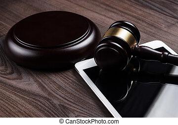 juge, marteau, informatique, tablette