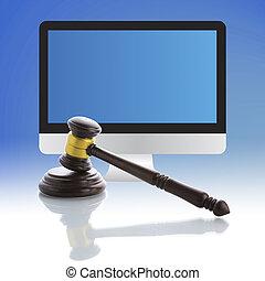 juge, marteau, internet, enchère
