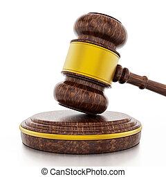 juge, marteau, isolé, blanc, arrière-plan., 3d, illustration