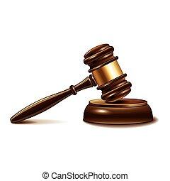 juge, marteau, isolé, blanc, vecteur