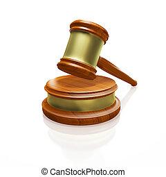 juge, marteau, maillet, isolé, blanc