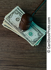 juge, marteau, mensonges, sur, billets banque
