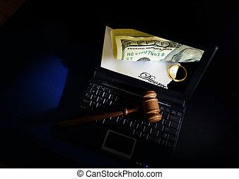 juge, marteau, ordinateur portable