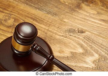juge, marteau, sur, bois, table.