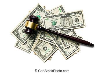 juge, marteau, sur, dollars américains