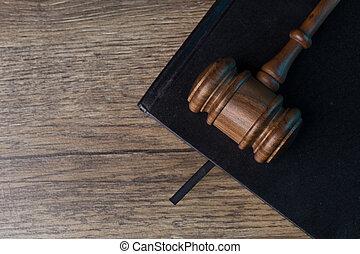 juge, marteau, sur, noir, cahier