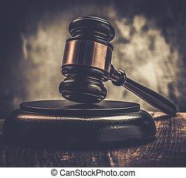 juge, marteau, sur, table bois