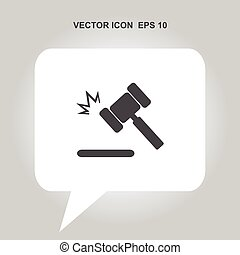 juge, marteau, vecteur, icône