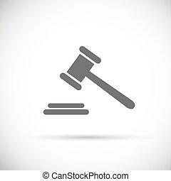 juge, pictogramme, enchère, symbole, justice, vecteur, marteau, icon.