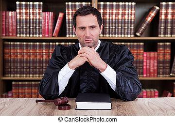 juge, portrait, mâle, sérieux