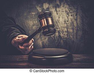 juge, possession main, bois, marteau