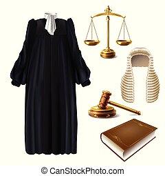 juge, réaliste, vecteur, marteau, robe, formel