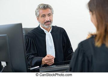 juge, réunion, avocat