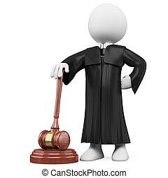 juge, robe, marteau, 3d