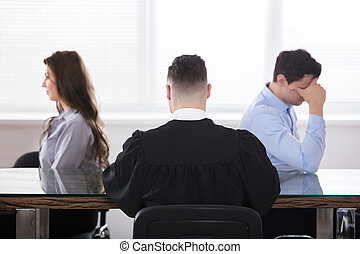 juge, séance, à, contrarié, couple