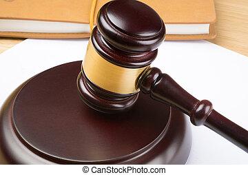juge, table, blanc, papier, marteau