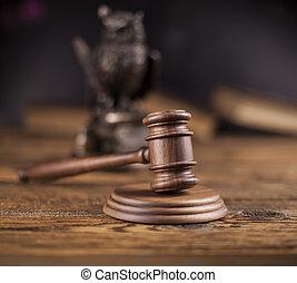juge, thème, marteau, maillet