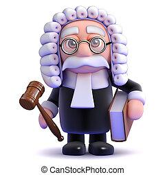 juge, tient, gaval, livre, 3d