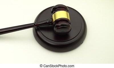 juge, tourne, au-dessus, stand., marteau, vue