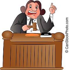 juge, vecteur, gavel.