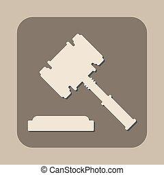 juge, vecteur, martelez icône