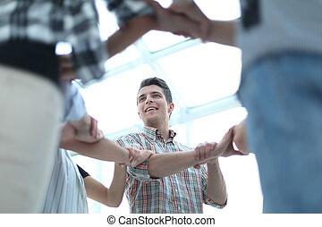 jugend- gruppe, formen, hände, aktive, kreis