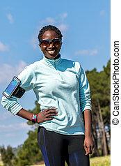 jugendlich, afrikanisch, uhr, fitness, outdoors., klug