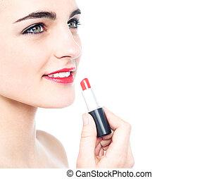 jugendlich, anwenden lippenstift, heiter, m�dchen, rotes