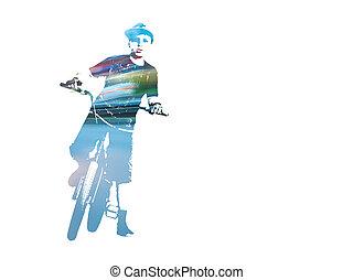 jugendlich, fahrrad, doppelgänger, concept., sicher, reiter, lichter, freigestellt, hintergrund., verkehr, reiten, bmx, weißes, aussetzung
