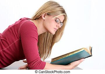 jugendlich, frau lesen