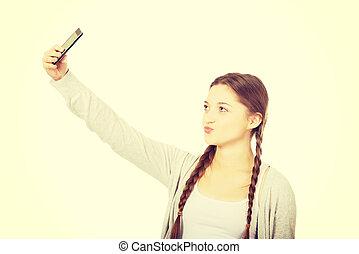 jugendlich, frau, nehmen, selfies, telefon., klug