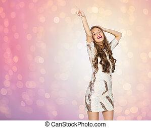 jugendlich, frau, tanzen, junger,  party, m�dchen, oder, glücklich