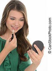 jugendlich, freigestellt, heiter, während, make-up., make-up...