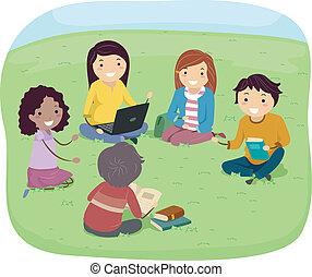 jugendlich, gruppieren diskussion
